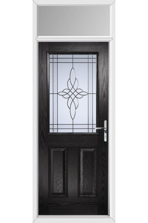The Fort William Black Composite Door with Crystal Harmony Frost and Toplight
