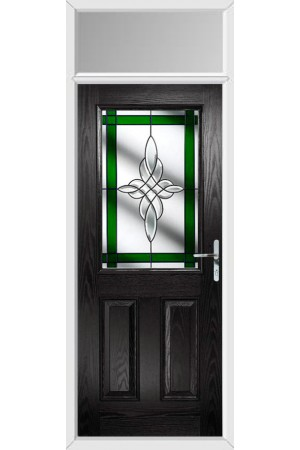 The Fort William Black Composite Door with Green Crystal Harmony and Toplight