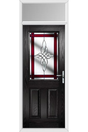 The Fort William Black Composite Door with Red Crystal Harmony and Toplight