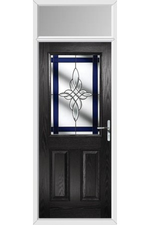 The Fort William Black Composite Door with Blue Crystal Harmony and Toplight
