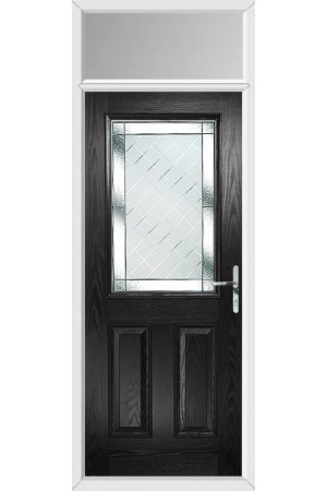 The Fort William Black Composite Door with Diamond Cut and Toplight