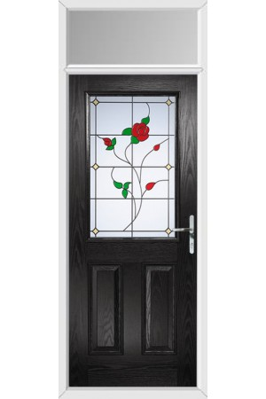 The Fort William Black Composite Door with English Rose and Toplight