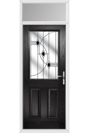 The Fort William Black Composite Door with Black Fusion Ellipse and Toplight