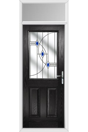 The Fort William Black Composite Door with Blue Fusion Ellipse and Toplight