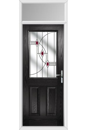 The Fort William Black Composite Door with Red Fusion Ellipse and Toplight