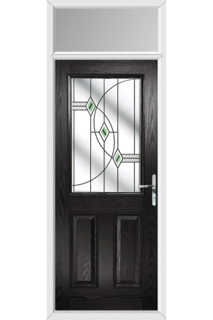 The Fort William Black Composite Door with Green Fusion Ellipse and Toplight