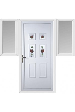 Ashford Creeping Rose uPVC Door with Two Flags