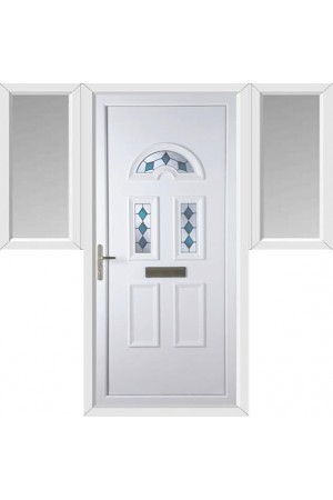 Blackburn Blue Jewel uPVC Door with Two Flags