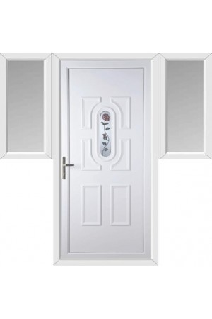 Colchester Single Rose uPVC Door with Two Flags