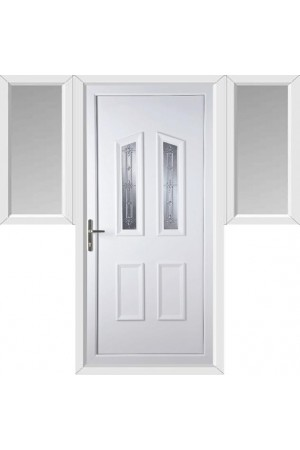 Darlington New Silver uPVC Door with Two Flags