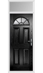 The Jamestown Black Composite Door with Clear Glazing and Toplight