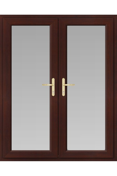 Upvc French Doors In Rosewood Frame Style