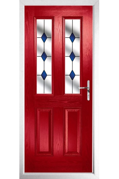 The Cheshire Red Composite Door With Blue Diamonds Frame