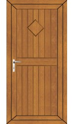Telford Back Door Diamond Solid uPVC Door in Oak