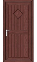 Telford Back Door Diamond Solid uPVC Door in Rosewood