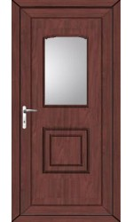 Folkestone Clear Glazed uPVC Door in Rosewood