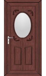 Swansea Clear Glazed uPVC Door in Rosewood