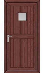 Telford Back Door Clear Glazed uPVC Door in Rosewood