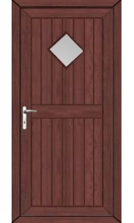Telford Back Door Diamond Clear Glazed uPVC Door in Rosewood