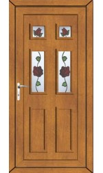 Ashford Creeping Rose uPVC Door in Oak