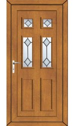 Ashford Diamond Bevel uPVC Door in Oak