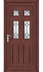 Ashford Diamond Bevel uPVC Door in Rosewood