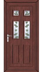 Ashford Rose Vine uPVC Door in Rosewood
