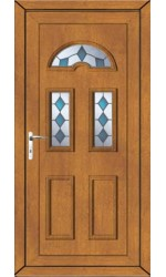 Blackburn Blue Jewel uPVC Door in Oak