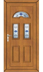 Blackburn Blue Tulip uPVC Door in Oak