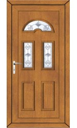 Blackburn Crystal Tulip uPVC Door in Oak