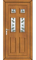 Ashford Rose Vine uPVC Door in Oak