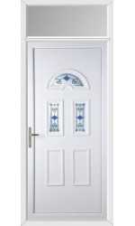 Blackburn Blue Tulip uPVC Door with Toplight