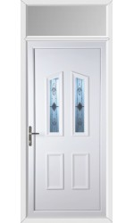 Darlington Sandblast Bevel uPVC Door with Toplight