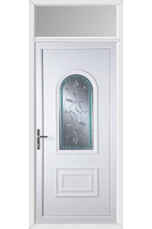 Ellesmere Port Diamond Green Border uPVC Door with Toplight