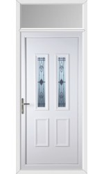 Ilkeston Sandblast Bevel uPVC Door with Toplight
