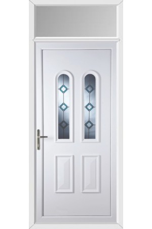 Newport Blue Border Bevel uPVC Door with Toplight