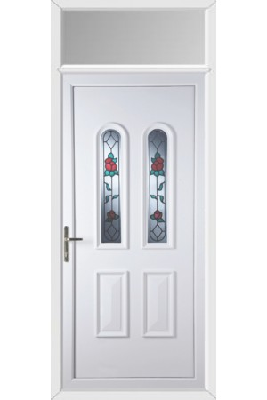 Newport Queen Anne Rose uPVC Door with Toplight