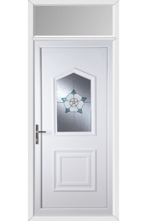 Poole Yorkshire Rose uPVC Door with Toplight