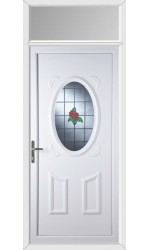 Swansea Single Rose uPVC Door with Toplight