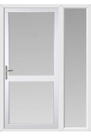 Fully Glazed uPVC Door with Midrail with One Sidelight