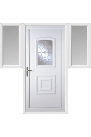 Folkestone Clear Crystal uPVC Door with Two Flags