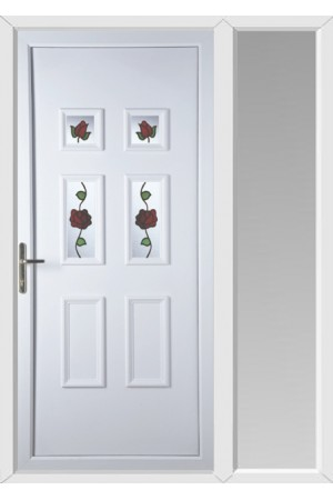 Ashford Creeping Rose uPVC Door with One Sidelight