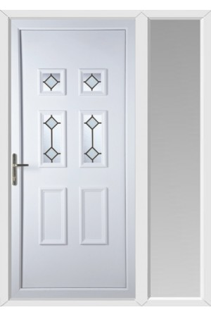 Ashford Diamond Bevel uPVC Door with One Sidelight