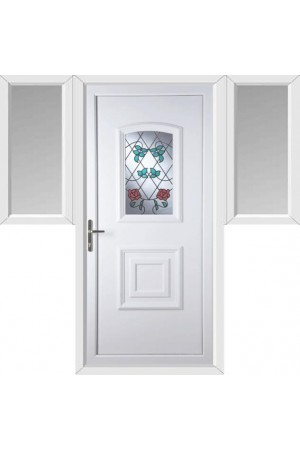 Folkestone Climbing Rose uPVC Door with Two Flags