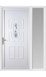 Colchester White Rose uPVC Door with One Sidelight