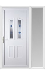 Darlington Blue Stud uPVC Door with One Sidelight
