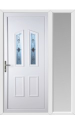 Darlington Sandblast Bevel uPVC Door with One Sidelight