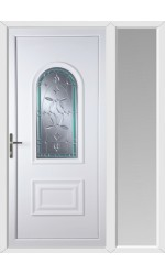 Ellesmere Port Diamond Green Border uPVC Door with One Sidelight