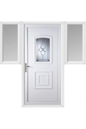 Folkestone Crystal Pearl uPVC Door with Two Flags