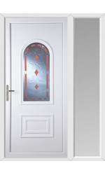 Ellesmere Port Red Diamond uPVC Door with One Sidelight
